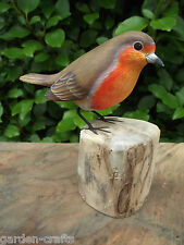 Hand Carved & Painted Wooden Robin Bird Ornament - Wildlife gift - 14cm tall