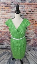 Tahari Arthur S Levine ASL Lime Green Polka Dot Sheath Cotton Work Belt Dress 12