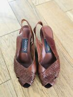 Women's BARRATTS Leather Summer Wedges Size Slingback Shoes UK 4 Chocolate Brown