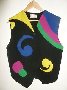 Vintage Gianni Versace 80s 1989 AW Colourful Knit Vest Sweater VGC Medusa 48