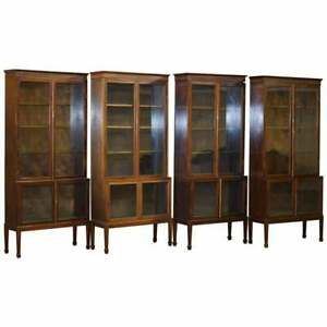 RARE SET OF FOUR OXFORD LIBRARY VICTORIAN BOOKCASES IN MAHOGANY 412CM WIDE