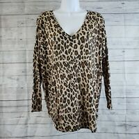 Joie Womens Sweater Sz Large Brown Black Animal Print V-Neck