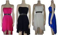 Womens Sleeveless Boob tube Bandeau Ladies Sheering Long Maxi Dress Top 10 12 14