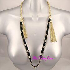 Flapper Tassel T-Bar Feature Necklace Deco Burlesque Celebrity Gold Black Velvet