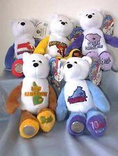 "Stuffed Plush bears 2000 Set of (5) State Quarter Coin 9"" Plush Bears #06 -#10"