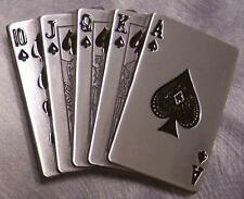 Pewter Belt Buckle Gamble Poker Royal Flush Spades NEW