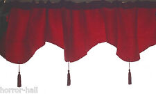 Gothic Decor Blood-RED WINDOW VALANCE CURTAIN-Brocade Damask Holiday Decoration