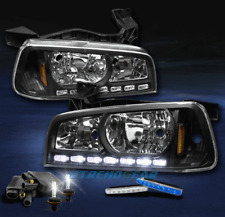 2006-2010 DODGE CHARGER LED CRYSTAL BLACK HEAD LIGHT W/6000K HID+BLUE DRL SIGNAL