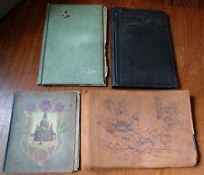 4 OLD ANTIQUE EMPTY POSTCARD ALBUMS c 1910