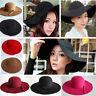 Cute Women Girl Floppy Hat Bowler Fedora Wool Felt Cap Wide Brim Cloche Hat