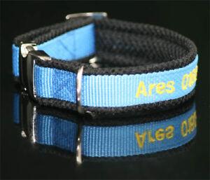 de luxe Halsband blau schwarz bestickt mit Name Telefonnummer Hundehalsband