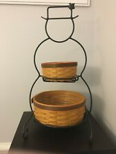 * Longaberger * Wrought Iron Small Snowman + Baskets with plastic liners