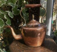 Antique Victorian Copper Kettle pre 1860 Riveted Seam Acorn Top From Devon Farm
