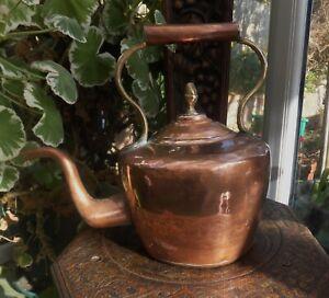 Antique Victorian Copper Kettle pre 1860 Riveted Seam Acorn Top From Devon Farm