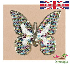 Sew On Sequins Applique Rainbow BUTTERFLY Patch Sparkly Customise Craft Clothing