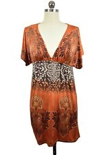 Body Central Orange Tunic Dress Beach Cover Up Small Empire Waist Bohemian 0824