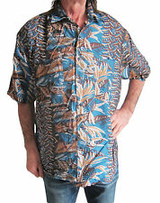 "100% SILK dark BLUE/ BROWN Hawaiian shirt  S, 48"" short sleeve 2 pockets new"