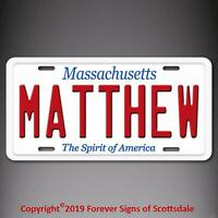 Matthew Massachusetts Name License Plate Aluminum Vanity Tag