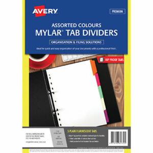 Avery A4 5 Tabs Dividers Mylar Reinforced - Fluoro Coloured Tabs x 15 Packs