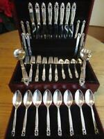 PERFECT* GEORG JENSEN ACORN STERLING SILVER*FLATWARE*SET*S-8 SERVERS+CHEST*EXCL*