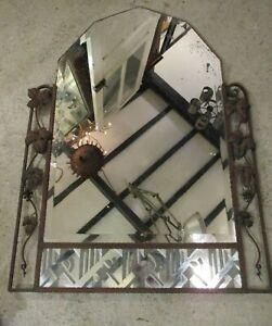 102 X 76 cm - Ancien miroir art déco, arqué en cadre fer forgé