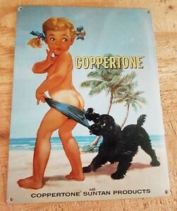 Coppertone Suntan Lotion Metal Sign Girl with Dog Vintage ad FREE SHIPPING