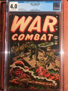 War Combat 3 CGC 4.0 Pre Code Early Marvel OW/W SWEET