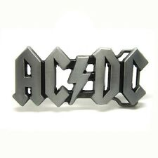 Classic Silver Hollow AC DC Music Belt Buckle Mens Vintage Leather Rock Roll New