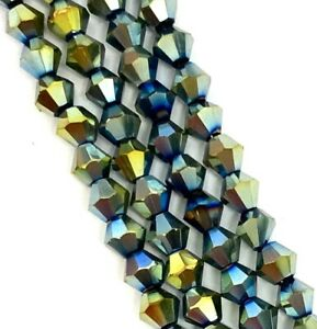 4mm Metallic faceted glass Bicone beads - approx 16-18inch strand, 110-120 beads