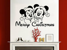 Merry Christmas Wall Decals Happy New Year Vinyl Sticker Decal Mickey Mouse NV41