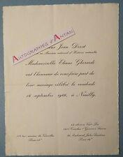 Faire Part Mariage 1966 Jean DORST Ornithologue Muséum d´Histoire & E. GHERARDI