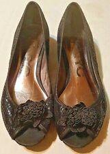 DKNYC Womens US Size 7 EUR 37.5 Silver/Black Slip On Peep Toe Shoes