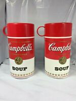 Set of 2 Vintage Campbell's Soup Insulated Thermos With Cup Cap Soup Mug 1998 FS