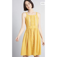 Modcloth Womens Size Medium About Your Outfit A-Line Dress Mustard Yellow NEW