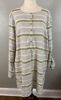 Duluth Trading Gray Yellow Striped Hemp Tunic Sz XL Organic Henley Pockets Top
