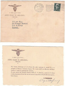 BUSTA +CARTONCINO -REGIA AERONAUTICA -AERO CLUB E .ARDUINO VERONA  1935