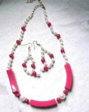 "Necklace 2.5"" Earrings Scrap Ditty Gold Accent 2 Pc Set Dark Pink Pearl 22"""