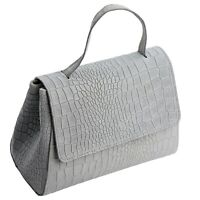 Ital. edles Crossbody Bag Satchel Ledertasche Umhängetasche echt Leder Grau 554G