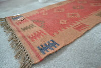 Small Kilim Rug Wool Jute Indian 60x90cm 2x3 Kelim Handmade Red Brown Morocco