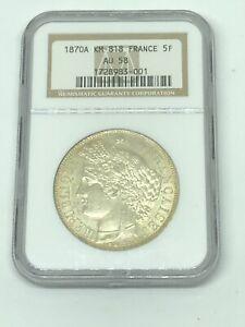 1870-A Paris France 🇫🇷 5F 5 Francs Silver Coin NGC AU 58 Ceres No Motto *RARE!