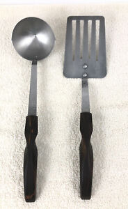 CUTCO No.1716 Slotted Turner Stainless Steel Spatula & No. 15 Ladle Swirl Handle