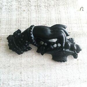 Victorian Gutta Percha Vulcanite Mourning Black Jet Fruits Basket Hand Brooch