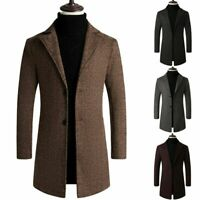 US Men Casual Sweater Slim Fit Long Sleeve Knit Cardigan Trench Coat Jacket Suit
