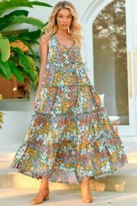 JAASE WOMEN'S ERRYN MAXI DRESS DAIZEE TEAL FLORAL PRINT GENEROUS SIZING