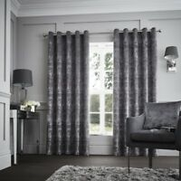 Luxury Curtina Downton Velvet Heavy Weight Lined Eyelet Curtains Graphite Silver