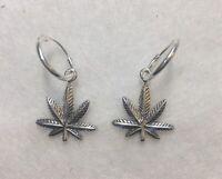 Marijuana earrings dangle hoop - Sterling Silver Oxidized