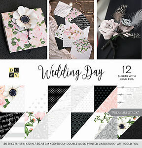 """DCWV Double-Sided Cardstock Stack 12""""X12"""" 36/Pkg-Wedding Day, 18 Designs/2 Each"""