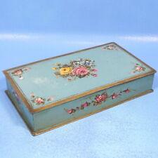 "11"" Antique French Tole Painted TRINKET JEWELRY BOX Aqua Blue Floral Motif c1900"
