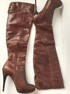 aldo over the knee boots Plaform Leaher Boot 10M Brown