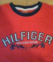 Vintage Tommy Hilfiger Red Label Denim T-Shirt Size M Red Spell Out